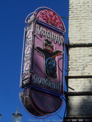 The old downtown Voodoo Doughnuts neon sign. At 1 a.m. it is you beacon to a sugar rush.