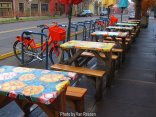 Outdoor seating is very popular in Portland. Best in the summer but place also had umbrellas for the those rainy days.