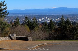 A view to the north east shows the Loyde district and Mt. Adams.