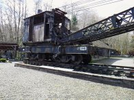 An old steam rail crane on display at Camp 18.