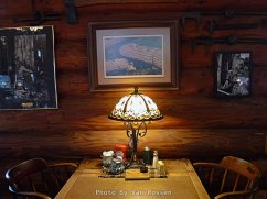 The main dinning room has many large tables but there are some spot tuck in for just two people.