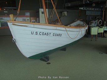 An example of an early days Coast Guard Rowing rescue boat.