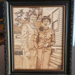 Historical Reproduction: Sisters - Pyrography on Leather - Portrait - 2017 - Framed
