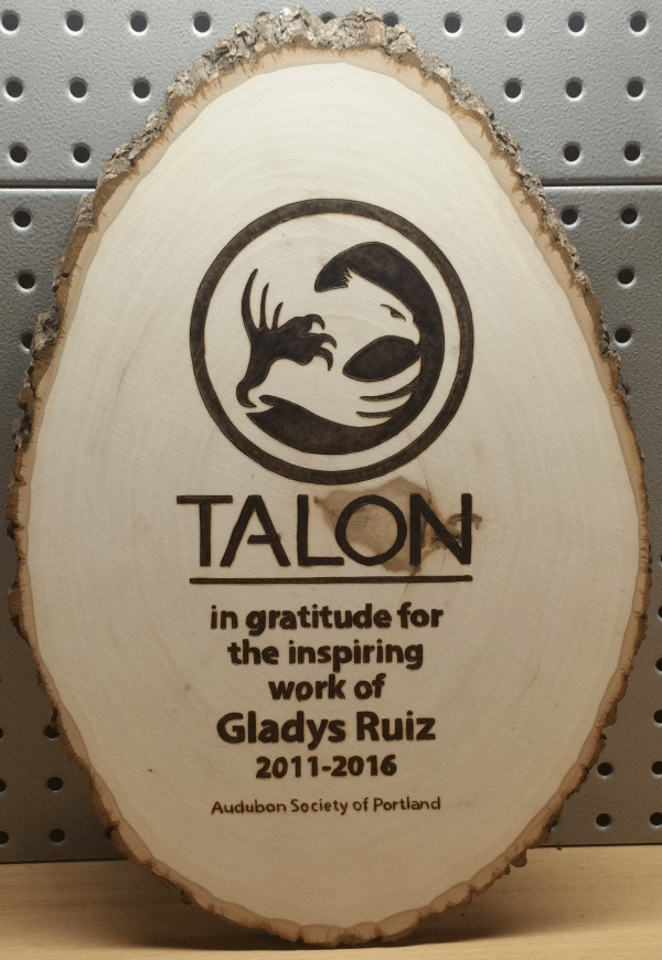 Talon Employee Recognition Award - Audubon Society of Portland