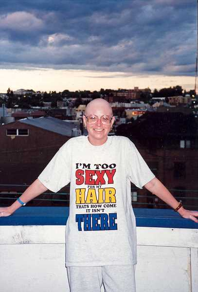 CONTRIBUTED PHOTO: SUE MERCER-CORY - Sue Mercer-Cory after shaving her head the first time 20 years ago. If she meets her fundraising goal for the Leukemia and Lymphoma Society she plans do it again.