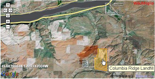 Columbia Ridge Landfill near Arlington, upper right