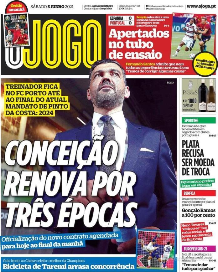 Capas jornais desportivos 05-06-2021