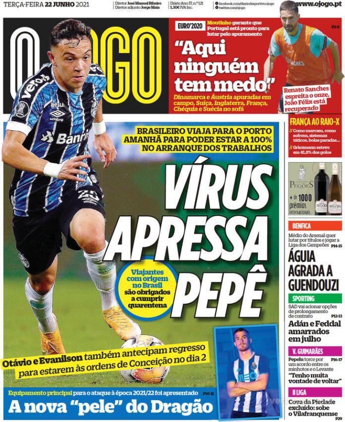 Capas jornais desportivos 22-06-2021