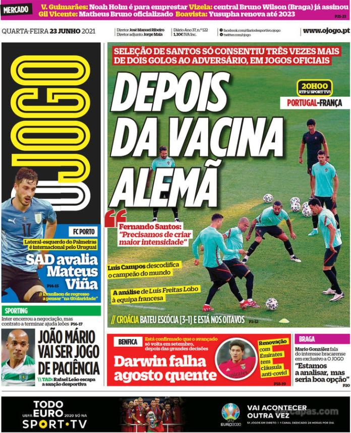 Capas jornais desportivos 23-06-2021