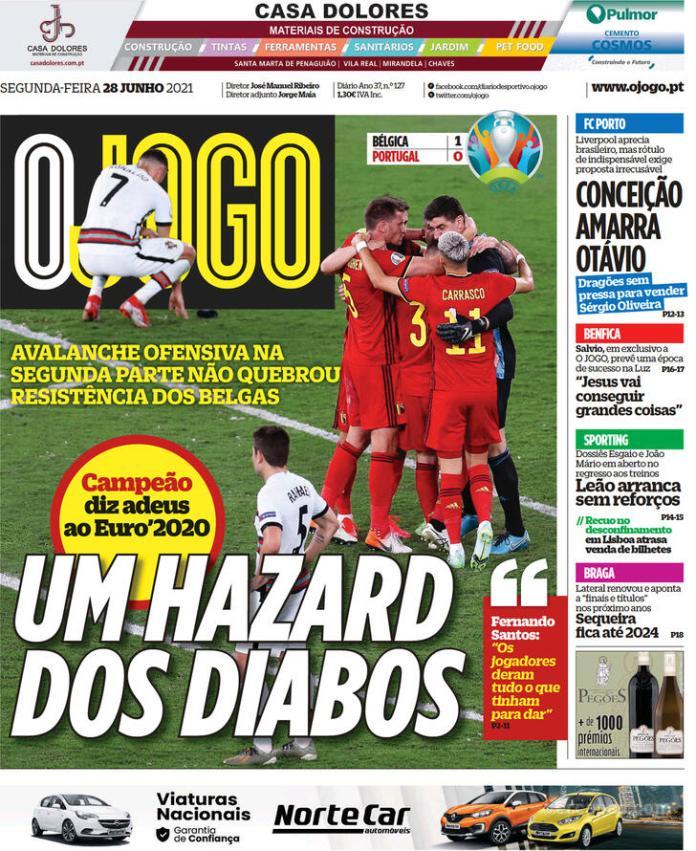 Capas jornais desportivos 28-06-2021