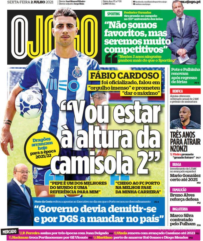 Capas jornais desportivos 02-07-2021