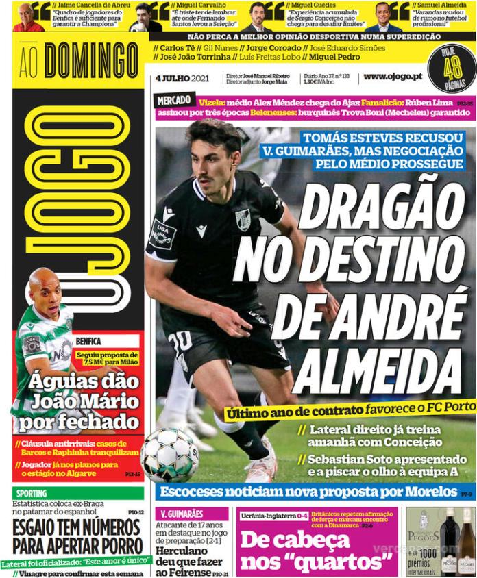 Capas jornais desportivos 04-07-2021