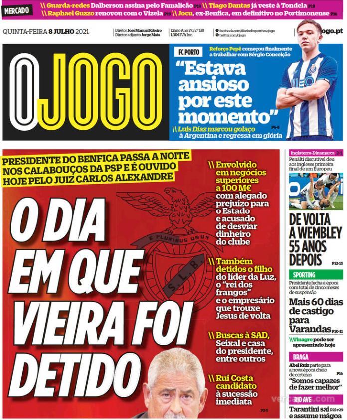 Capas jornais desportivos 08-07-2021