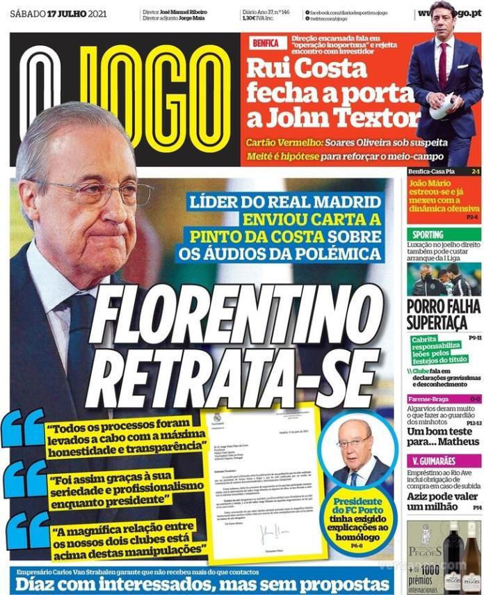 Capas Jornais desportivos 17-07-2021
