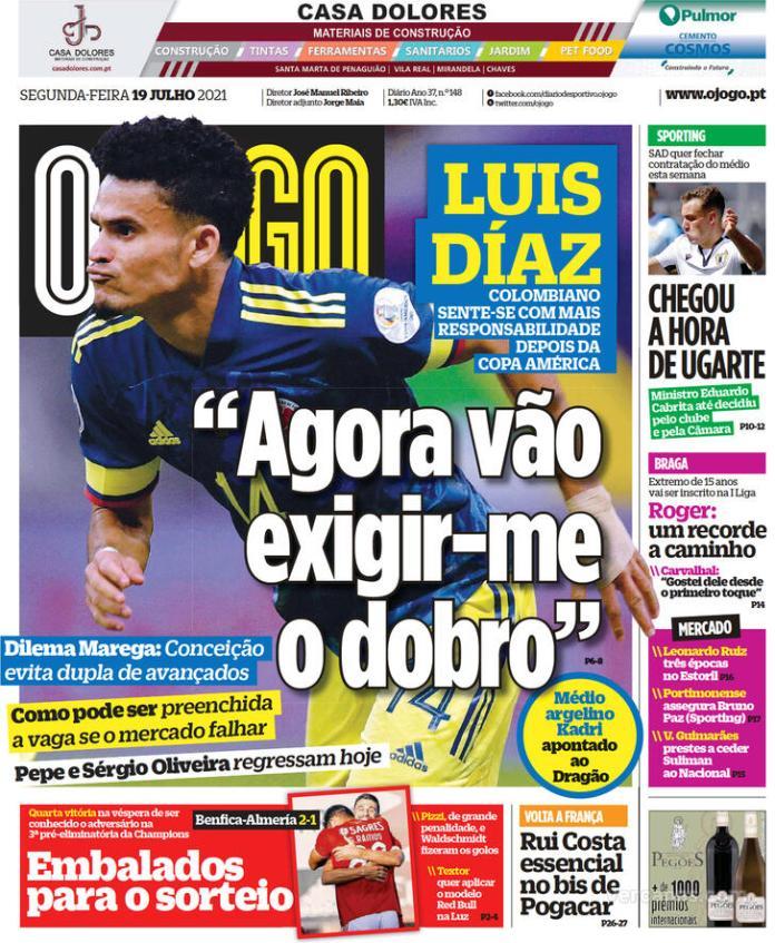 Capas Jornais desportivos 19-07-2021