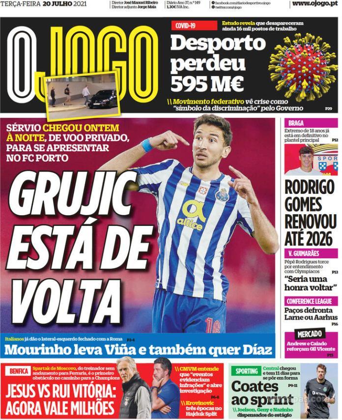 Capas Jornais desportivos 20-07-2021