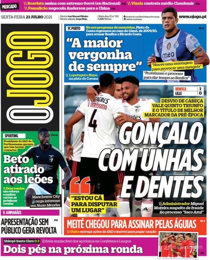 Capas Jornais desportivos 23-07-2021
