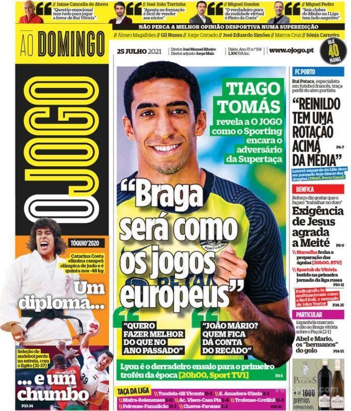 Capas Jornais desportivos 25-07-2021