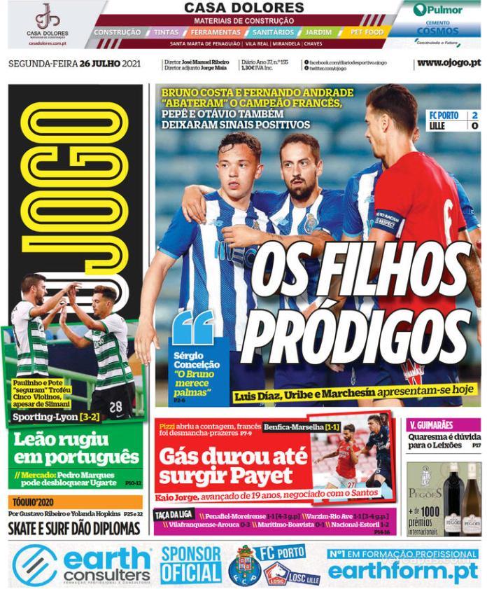 Capas Jornais desportivos 26-07-2021
