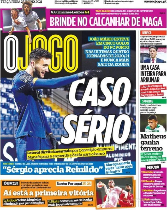 Capas Jornais desportivos 27-07-2021