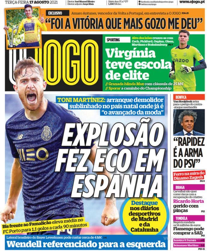 Capas Jornais desportivos 17-08-2021