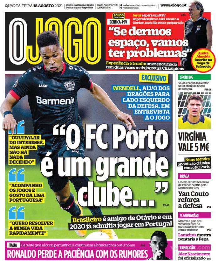Capas Jornais desportivos 18-08-2021