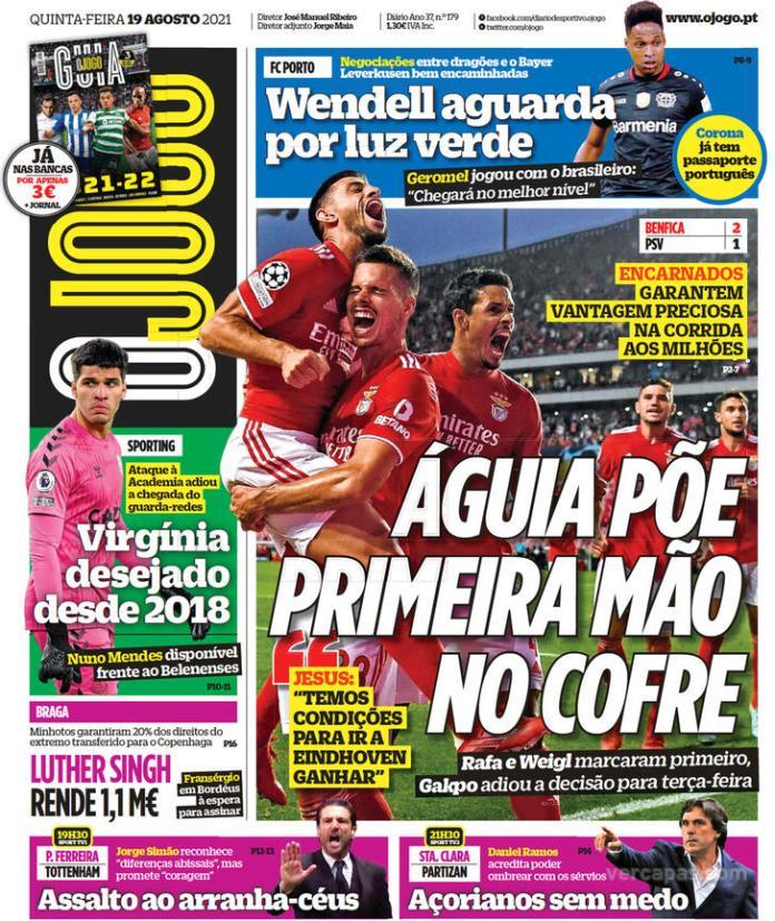 Capas Jornais desportivos 19-08-2021
