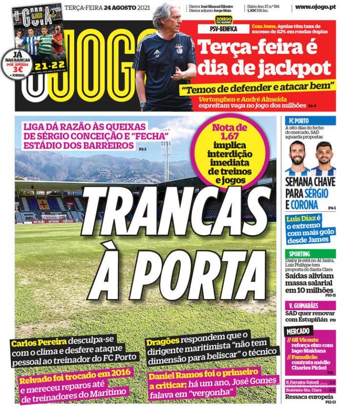 Capas Jornais desportivos 24-08-2021