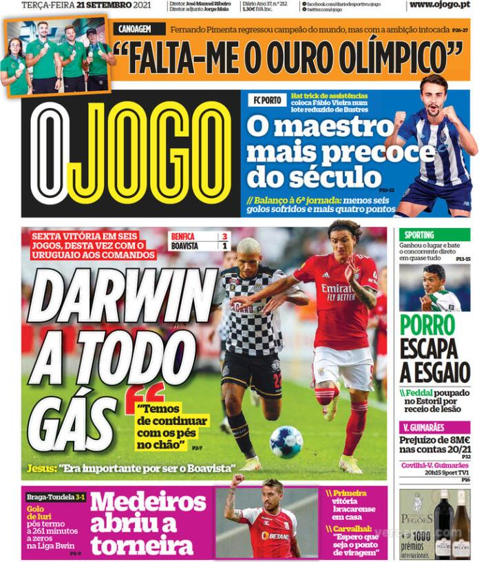 Capas Jornais desportivos 21-09-2021