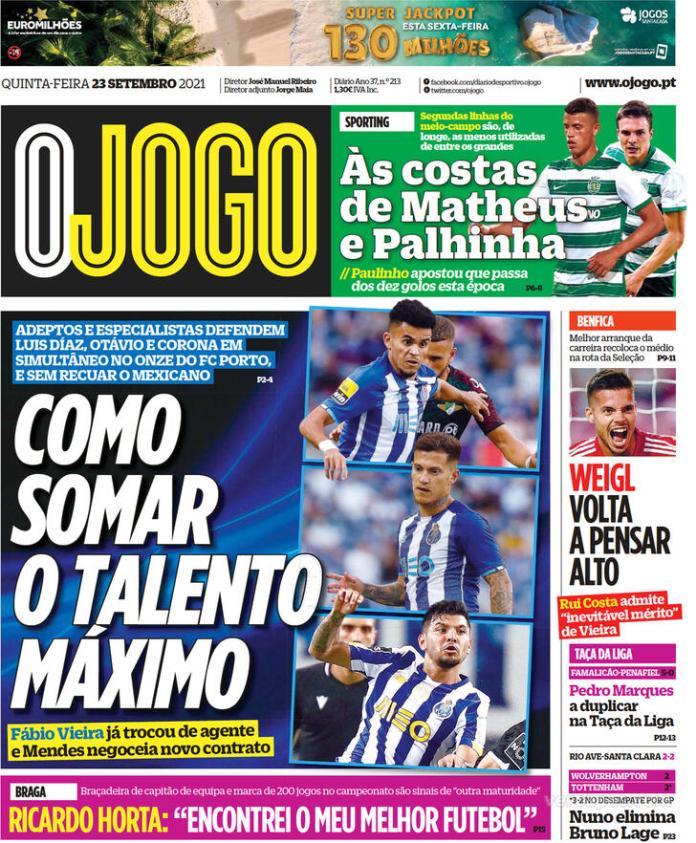 Capas Jornais desportivos 23-09-2021