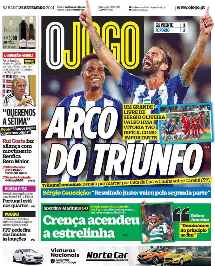 Capas Jornais desportivos 25-09-2021