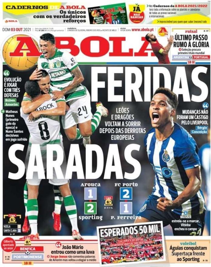 Capas Jornais desportivos 03-10-2021