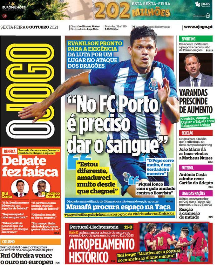 Capas Jornais desportivos 08-10-2021