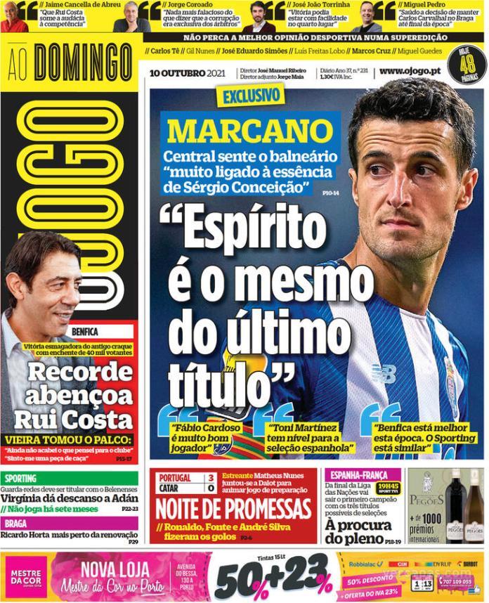 Capas Jornais desportivos 10-10-2021