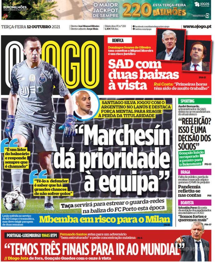Capas Jornais desportivos 12-10-2021