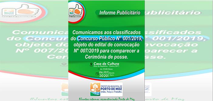 Informe Publicitário sobre o Concurso Público Nº 001/2019