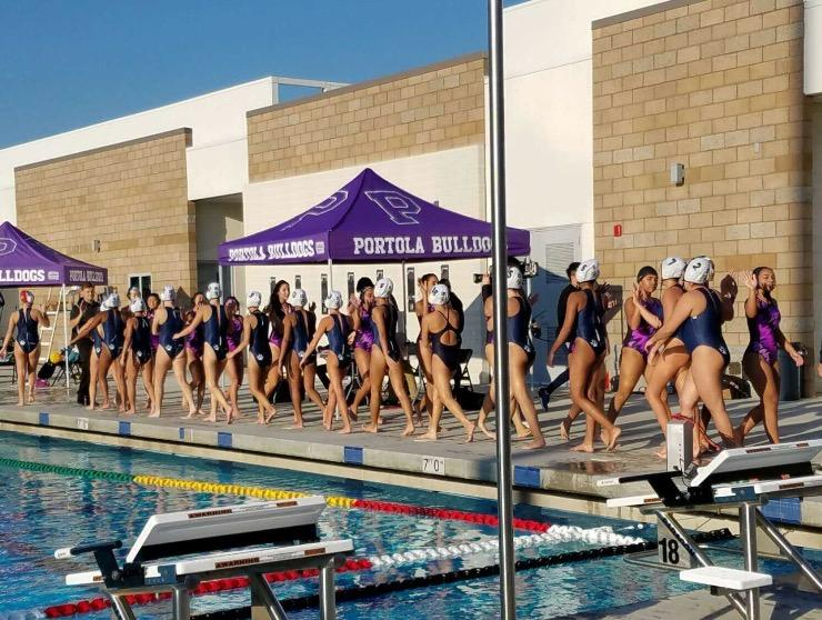 Portola+and+Northwood+High+water+polo+teams+line+up+after+the+game.