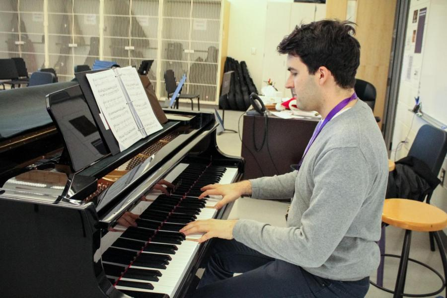 Adrian Rangel-Sanchez passionately plays the piano during his open period.