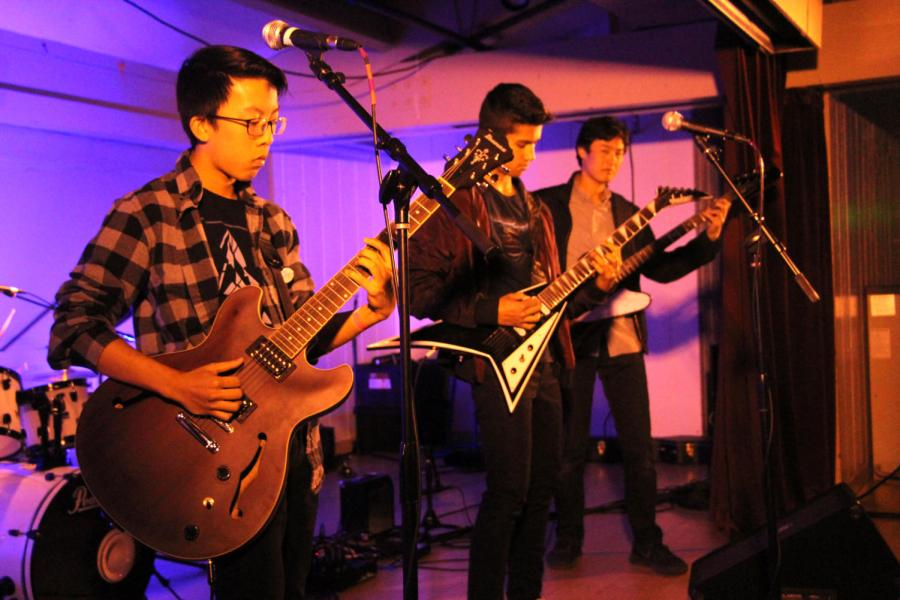 Lead guitarist Yash Menon, rhythm guitarist Nicholas Hung, bass guitarist Brian Yip, and drummer and vocalist Derrick Peng of Cardboard Prison performed a medley of songs, playing several original compositions.
