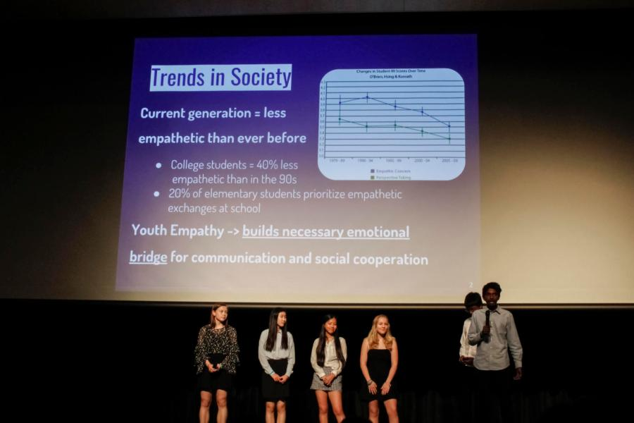 """Freshmen Abby Hopper, Ariana Wu, Akshay Raj, Faith DeNeve, Jane Kim and Satvik Chennareddy presented their project """"Higher Empathy for Youth"""" to students and panelists in the audience."""