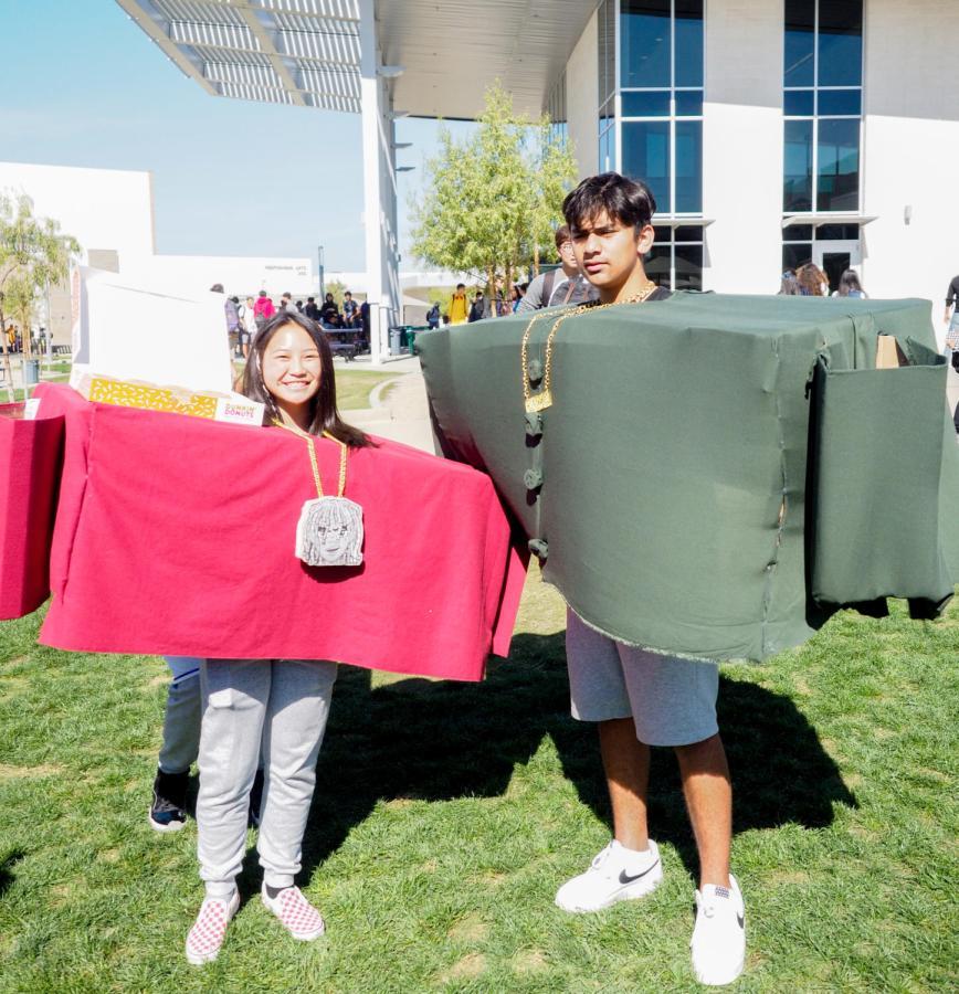 Freshman Emily Pham and Kayvahn Rastavan won best group costume.