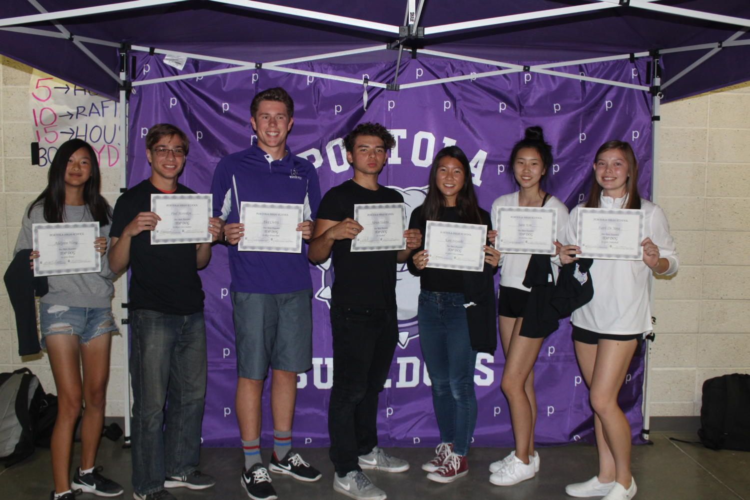 Fall Top Dog award recipients included: Adelynne Wong, Paul Morenkov, Alex Cherry, Adrian Valerin, Kate Hayashi, Jaein Kim and Faith DeNeve. Although she won an award, sophomore Kenzie Edson is not pictured.