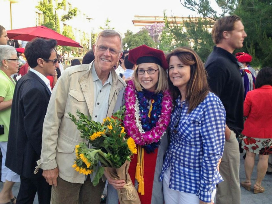 Beginning the next stage in her life, Murphy graduates law school and is congratulated by her family. Murphy spent three years getting her degree at Chapman Law School.
