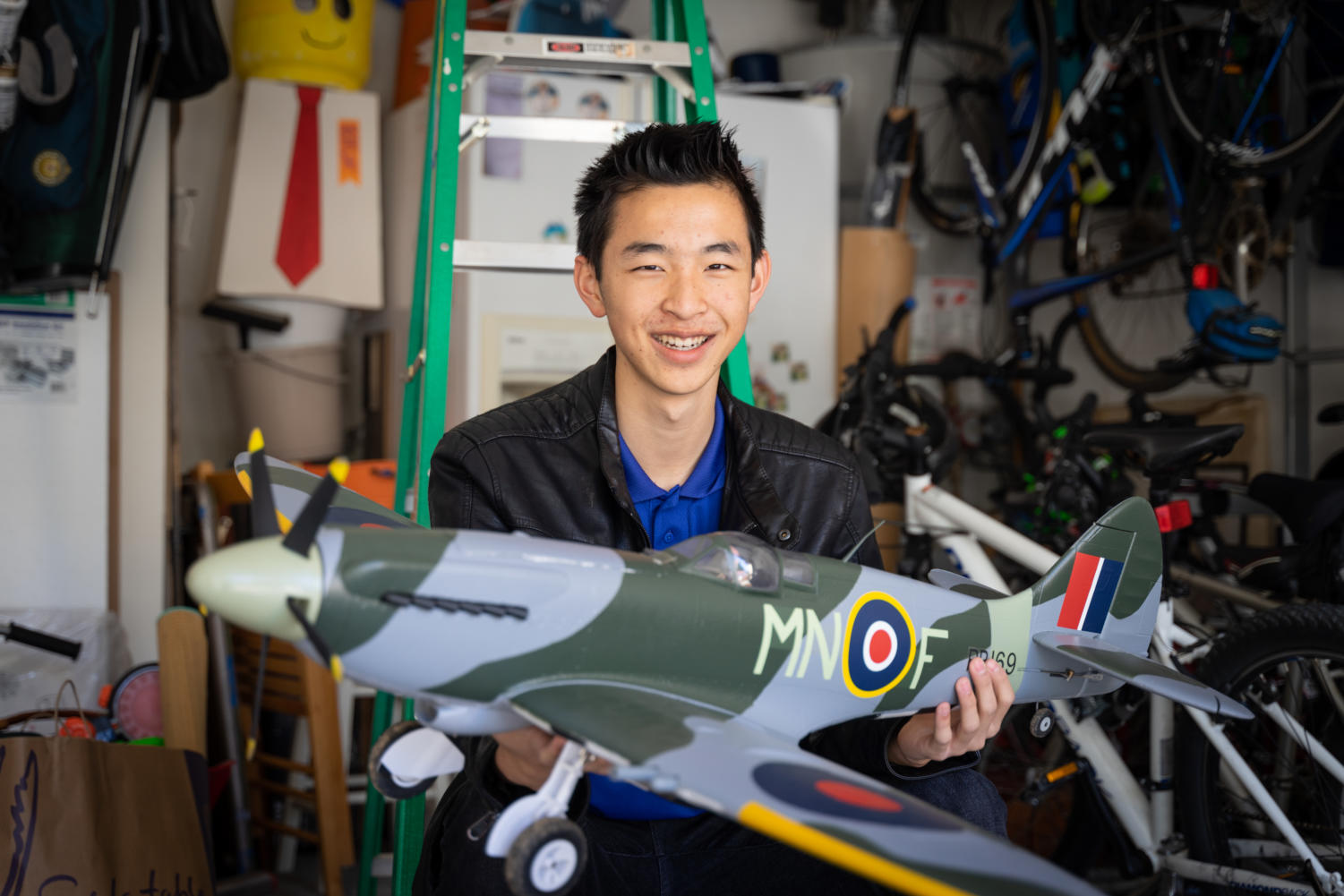 In his free time, Tam constructs his own R/C planes using interchangeable motors, styrofoam wings and circuitry he designed himself.