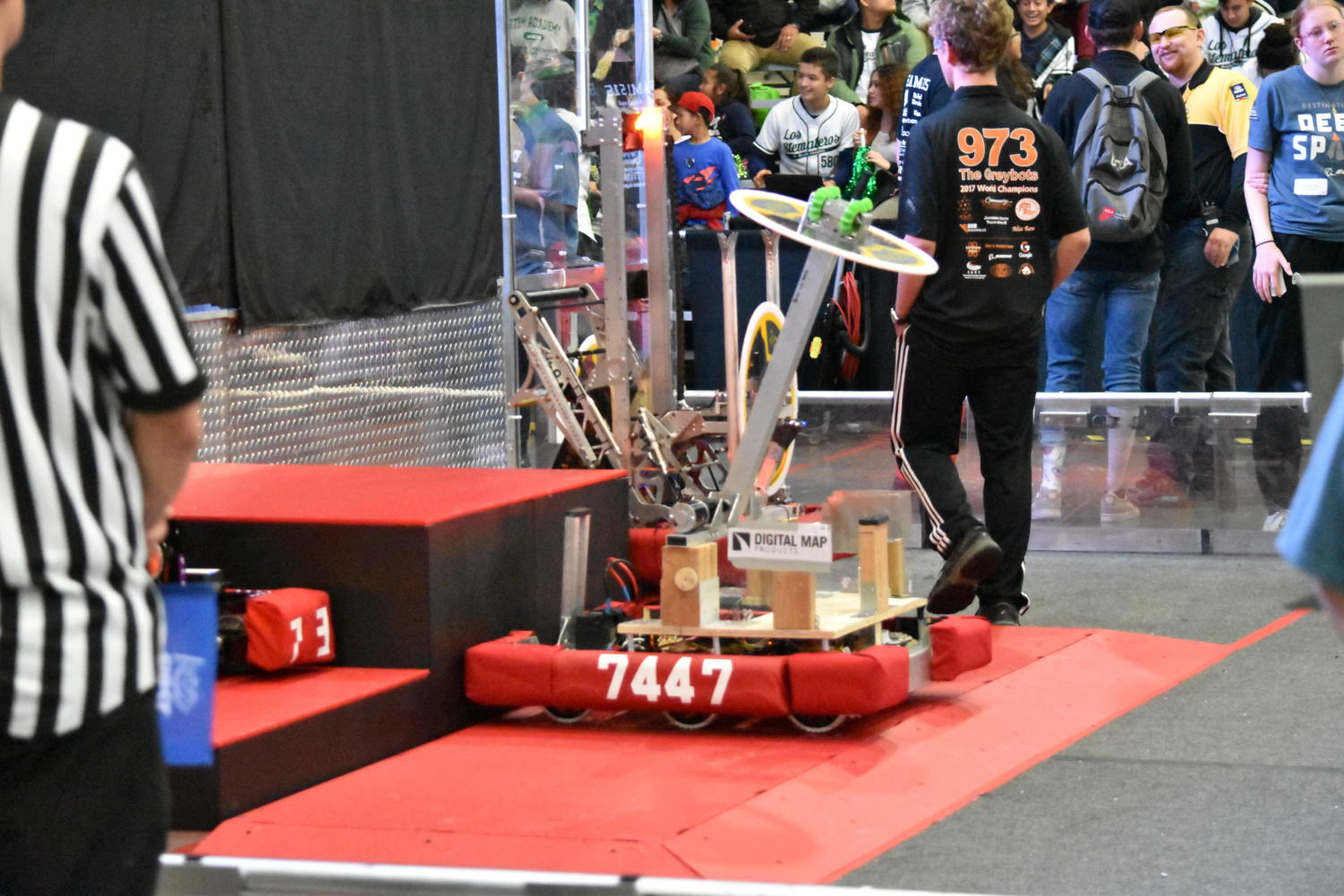 At the Orange County Regionals, the FIRST Robotics team won sixth place after its award-winning robot demonstrated several skills the judges were looking for.