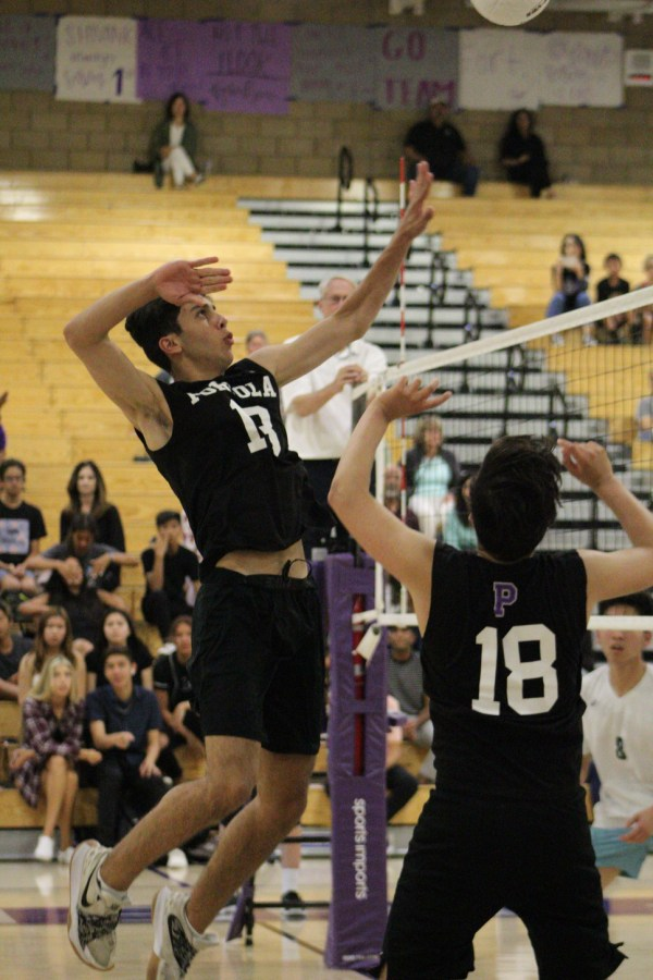 Middle blocker and junior Saif Habibeh leaps up in position to spike a ball from setter and junior Shivank Gupta during the second set; this time, players like Habibeh were able to score points against Irvine High due to a renewed sense of vigor and determination that put the Bulldogs ahead by a few points at one time.