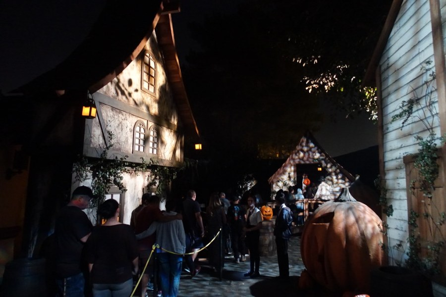 The Pumpkin Eater, one of the most popular mazes at Knott's Scary Farm, offers a frightful experience with gore and jumpscares but usually has a wait time of an hour or more.