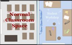 The innovation behind the course extends to its environment, which will feature a classroom dedicated to engineering design. A workshop containing power tools, wood and 3D printing materials will be connected to the classroom. Additionally, a glass wall will divide the two sections, allowing for the supervision of students working in the workshop and classroom.