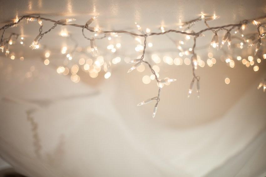diy string light bed canopy