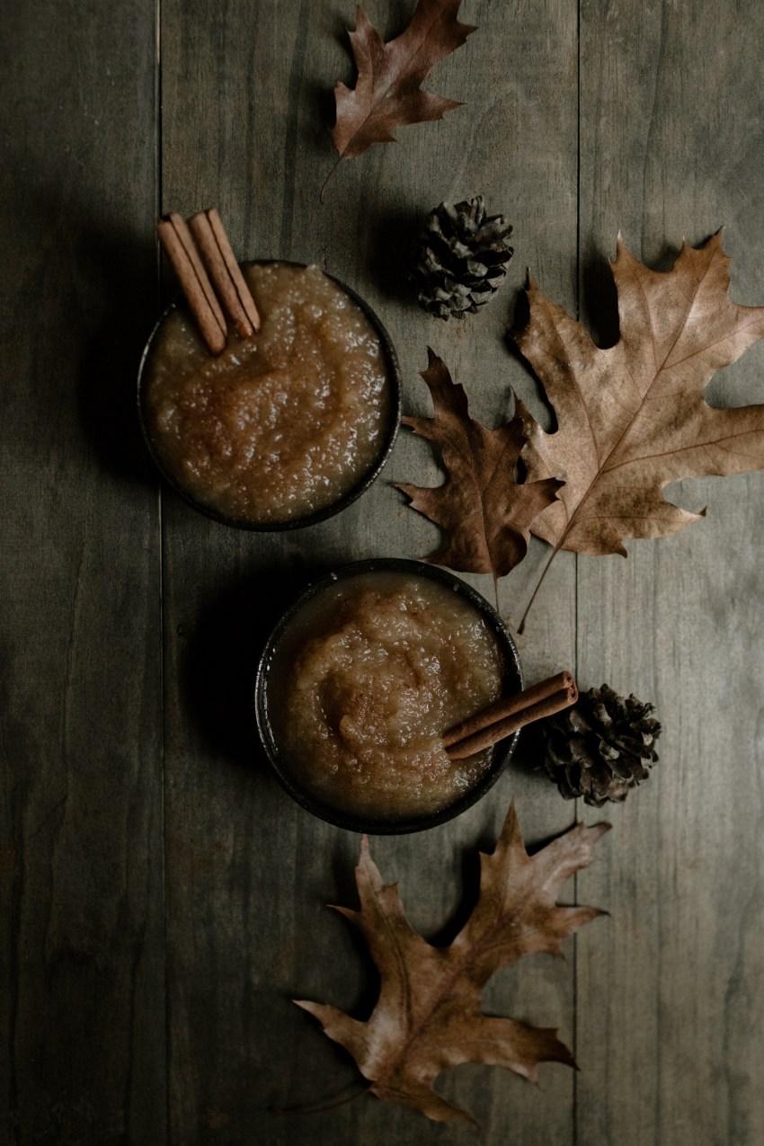 cinnamon applesauce autumn food styling